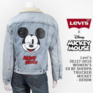 ミッキーマウスとリーバイスのコラボ、ミッキースクリーンデビュー90周年記念。ミッキーウインク顔とロゴ...