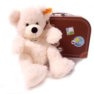 シュタイフ Steiff テディベア ロッテ スーツケース ホワイト 28cm LOTTE Teddy bear in suitcase 111464 スーツケース付き ベア ぬいぐるみ 熨斗不可|gport