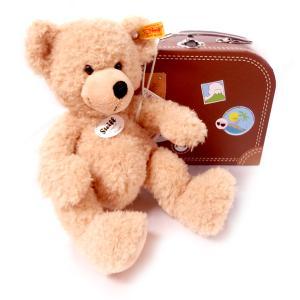 シュタイフ Steiff テディベア フィン スーツケース ベージュ 28cm FYNN Teddy bear in suitcase 111471 スーツケース付き くま ぬいぐるみ 熨斗不可|gport