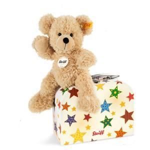 シュタイフ Steiff テディベア フィン スーツケース スターズ 23cm Fynn Teddy bear in suitcase stars 111730 スーツケース付き くま ぬいぐるみ 熨斗不可|gport