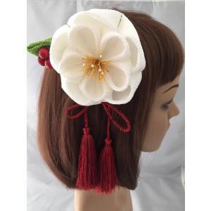 つまみ細工の髪飾り「大輪梅3点セット(白色)601A」髪飾り...