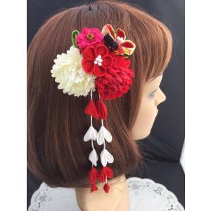つまみ細工の髪飾り「下がり付つまみ花2点セット(赤色)643...