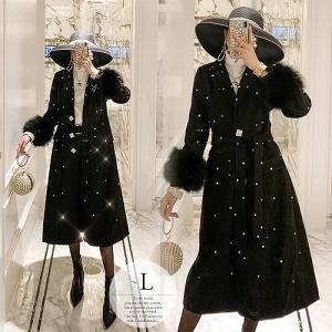 ウール コート ロング アウター 冬 大人 レディース 大きいサイズ きれいめ ブラック ファー 襟...