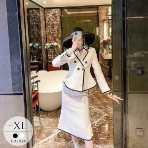 セットアップ ジャケット スカート ブラック ホワイト 二次会 デート セレブ マダム ママ 上品 ...
