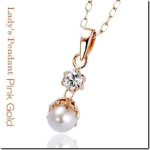 真珠とトパーズのコラボレーション K10ピンクゴールド スウィーティーエレガンス パールペンダントネックレス|gradior