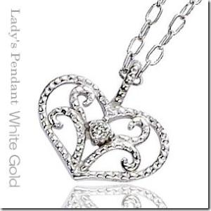 ロマンティックな胸元を演出 K10ホワイトゴールド アンティークダイヤモンドハートペンダントネックレス|gradior