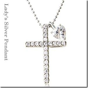着け方は自由に3パターン 3way 聖なる十字架クロスとプチハートペンダント シルバーカラーmeミー|gradior