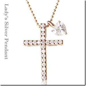 着け方は自由に3パターン 3way 聖なる十字架クロスとプチハートペンダント ピンクゴールドカラーmeミー|gradior