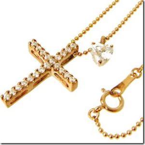 着け方は自由に3パターン 3way 聖なる十字架クロスとプチハートペンダント ピンクゴールドカラーmeミー|gradior|02