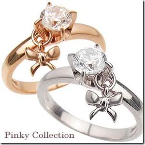 【在庫限り】4号 幸せのお守り リボンチャームが女心をくすぐる立爪の1粒石 ピンキーリング|小指の指輪|ファランジリング|関節リング|ミディリング|gradior