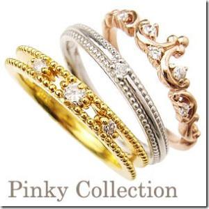 【在庫あり】6号 3本セット 幸せのお守り スリーカラー3連ティアラ ピンキーリング|小指の指輪|ファランジリング|関節リング|ミディリング|me. ミー||gradior