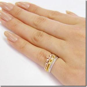 【在庫あり】6号 3本セット 幸せのお守り スリーカラー3連ティアラ ピンキーリング 小指の指輪 ファランジリング 関節リング ミディリング me. ミー  gradior 05