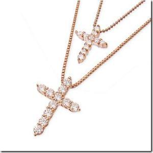 【在庫あり】Sweet 3月号搭載シリーズ 聖なる十字架 キラキラ クロスとクロスの2連ペンダント ピンクゴールドカラーmeミー|gradior|02