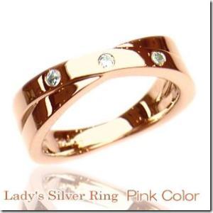 2本のリングが交差したようなデザインクロスラインペアリングピンクカラー レディース単品|gradior