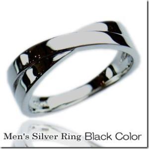 2本のリングが交差したようなデザイン艶つやクロスラインペアリングブラックカラー メンズ単品|gradior