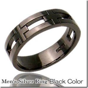 2010年1月号Men'sJOKER搭載当店人気No.1 クロスモチーフペアリングブラックカラーとブラックカラー2本セット  gradior 02