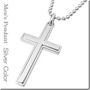 聖なる象徴 十字架モチーフ永遠人気のマットクロスペアペンダントシルバーカラー メンズ単品|gradior