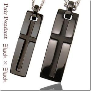 聖なる象徴 十字架モチーフスリットクロスバーペアペンダントブラックカラーとブラックカラー2本セット |gradior