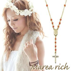 ロザリオ Yチェーンペンダント ゴールド×サンゴ×オニキス×パール【Marea rich/マレア リッチ】|gradior