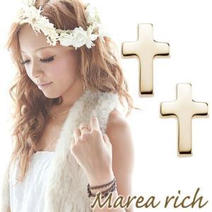 K10ゴールド クロスモチーフピアス 【Marea rich/マレア リッチ】|gradior