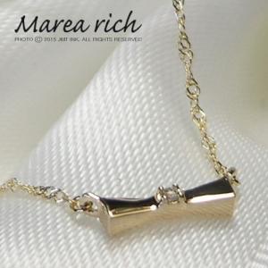 繊細で控えめなリバーシブルペンダント!K10ゴールド×ダイヤモンド リボンモチーフネックレス【Marea rich/マレア リッチ】|gradior
