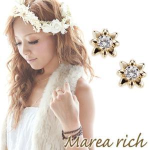 K10ゴールド×ダイヤモンド シンプルダイヤモンドピアス スターフラワー【Marea rich/マレア リッチ】|gradior