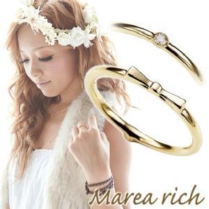 K10ゴールド ダイヤモンド リボンモチーフ 2WAY ピンキーリング 小指の指輪 ファランジリング 関節リング ミディリング Marea rich マレア リッチ  gradior