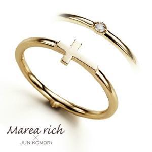 K10ゴールド ダイヤモンド クロスモチーフ 2WAY ピンキーリング 小指の指輪 ファランジリング 関節リング ミディリング Marea rich マレア リッチ  gradior