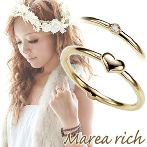 K10ゴールド ダイヤモンド ハートモチーフ 2WAY ピンキーリング 小指の指輪 ファランジリング 関節リング ミディリング Marea rich マレア リッチ  gradior