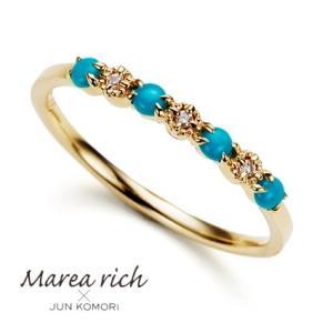 K10ゴールド×ターコイズ×ダイヤモンド ハワイアンリング(一文字リング)【Marea rich/マレア リッチ】|gradior