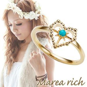 K10ゴールド×ターコイズ ハートモチーフ ハワイアンリング【Marea rich/マレア リッチ】|gradior