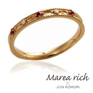 K18ゴールド×ルビー×ダイヤモンド  ペアリング/女性用 /5号〜15号 【Marea rich/マレア リッチ】GD-11KJ-26|gradior