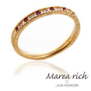 K18ゴールド×ルビー×ダイヤモンド  ペアリング/女性用 /5号〜15号 【Marea rich/マレア リッチ】GD-11KJ-28|gradior