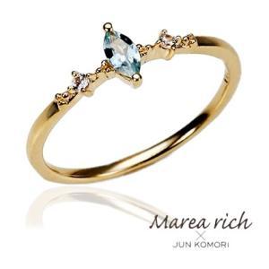 K10ゴールド アクアマリン ピンキーリング|小指の指輪|ファランジリング|関節リング|ミディリング|Marea rich マレア リッチ|GD-12KJ-02|gradior