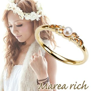 K10ゴールド×パール ピンキーリング 小指の指輪 ファランジリング 関節リング ミディリング Marea rich マレア リッチ GD-12KJ-04 gradior