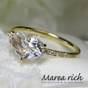K10ゴールド×ハート形ホワイトクオーツ リング 【Marea rich/マレア リッチ】GD-12KJ-27|gradior
