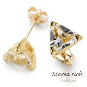 K10ゴールド ホワイトトパーズ スタッドピアス|Marea rich/マレア リッチ||gradior