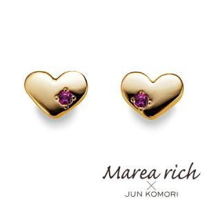 K10ゴールド×ルビー 艶ハート スタッドピアス|Marea rich マレア リッチ||gradior