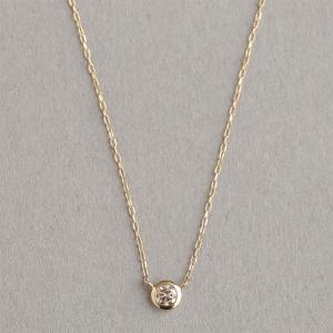 【Skin】ダイヤ ベゼル ネックレス K10イエローゴールド ダイヤモンド ペンダント 【Marea rich/マレア リッチ】|gradior
