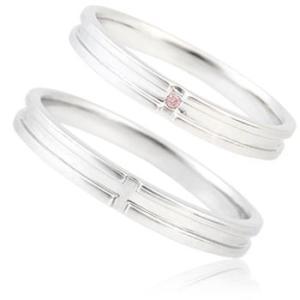 《2本ペアセット》K10ホワイトゴールドペアリング(ダイヤ無しとピンクダイヤ入りの2本セット)|マリッジリング|結婚指輪||gradior