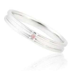 《単品|レディース》K10ホワイトゴールド ピンクダイヤモンド入り ペアリング|マリッジリング|結婚指輪||gradior