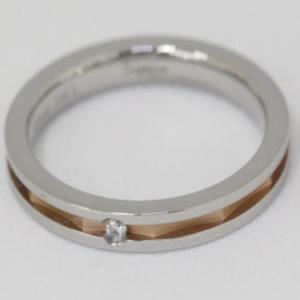 サージカルステンレス316L肌に優しい医療用ステンレス素材のペアリング 天然ダイヤモンド入り 指輪 Sepia|gradior