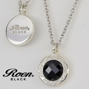 ロゴプレートとキュービックジルコニアの リバーシブル メンズ ネックレス ペンダント|シルバー|ブランド Roen BLACK ロエン ブラック|アクセサリー||gradior