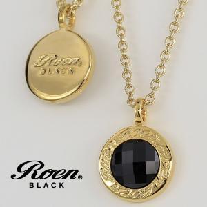 ロゴプレートとキュービックジルコニアの リバーシブル ネックレス ペンダント ゴールドカラー|ブランド Roen BLACK|ロエン ブラック|アクセサリー||gradior