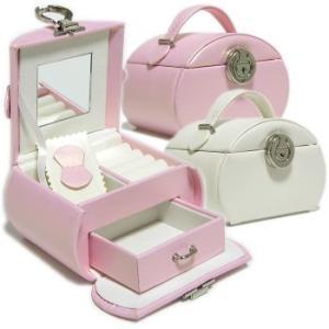 人気の宝石箱にピンクとホワイトが仲間入り! レザー調高級ジュエリーボックスSサイズ|gradior