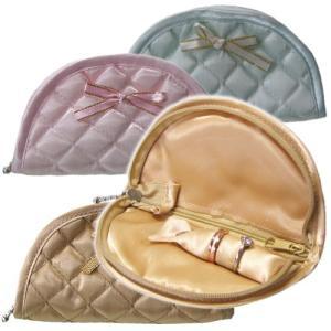 持ち運びしやすく大人かわいい携帯用リボン付きキルティングジュエリーポーチミニ(半円)|gradior