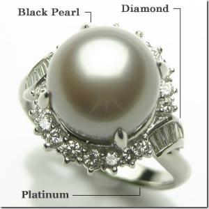 12.6mm珠 プラチナ900 南洋真珠 ダイヤモンドリング|gradior