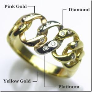 PT900プラチナ K18イエローゴールド K18ピンクゴールド スリーカラーダイヤモンドリング|gradior