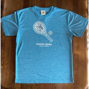 テニスジャンキー 半袖Tシャツ TJ19002 「ラケット犬+1」 ヘザーブルー|grancha914