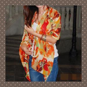ヨーロッパスタイル 花柄 ネオンカラー レディース スカーフ...